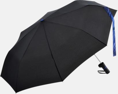 Svart/Euro Blue Paraplyer med skaftet på sidan - med reklamtryck