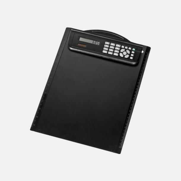 Svart Tunn skrivplatta med miniräknare - med reklamtryck