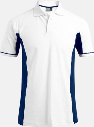 Vit/Indigo (herr) Pikétröjor i funktionsmaterial med tryck