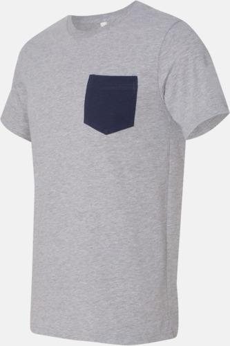 Athletic Heather/Marinblå Herr t-shirts med bröstficka i kontrasterande färg - med reklamtryck