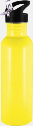 Gul 0,75 liters sportflaskor i rostfritt stål med reklamtryck