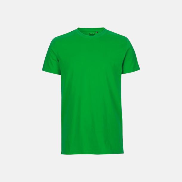 Grön (herr) Fitted t-shirts i ekologisk fairtrade-bomull med tryck