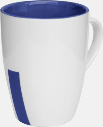 Marinblå (rand) Stengodsmuggar med randig eller prickiga detaljer - med reklamtryck