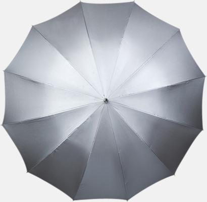 Silvergrå/Svart insida (PMS 877C) Stora Paraplyer med tryck