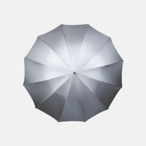 Silvergrå/Svart insida (PMS 877C) Stora paraplyer med reklamtryck
