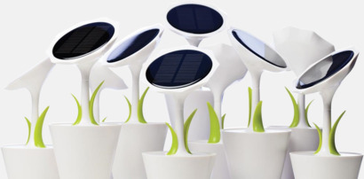 Solcellsladdare i blomdesign med reklamtryck
