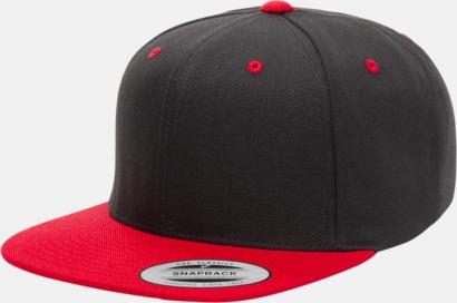 Svart/Röd Snapback kepsar med flexfit - med reklamtryck