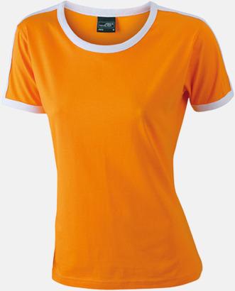 Orange/Vit (dam) T-shirts med kontrastfärger - med reklamtryck