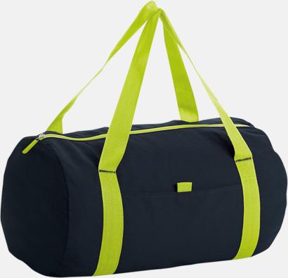 Svart/Neon Lime Trendiga rese- och träningsväskor med reklamtryck