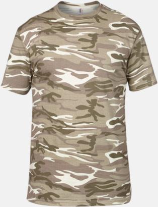 Camouflage (sand) T-shirts med militörmönster - med reklamtryck