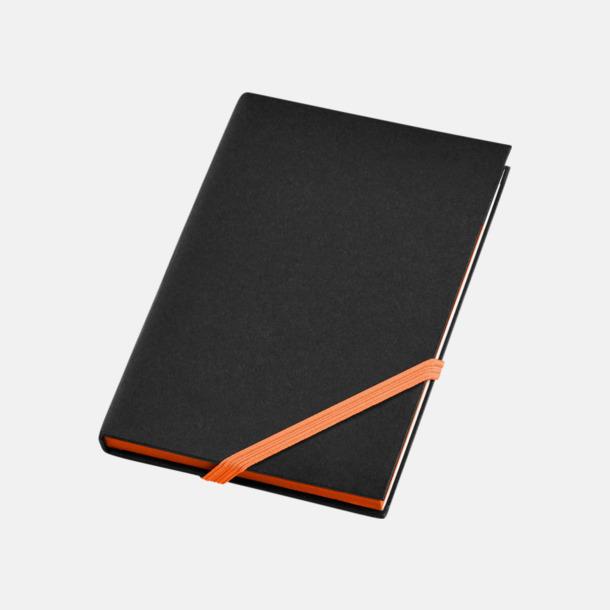 Svart/Orange (A6) Anteckningsböcker i A5- och A6-format med reklamtryck