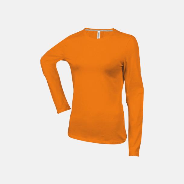 Orange (crewneck, dam) Långärmad t-tröja med rundhals för herr och dam med reklamtryck