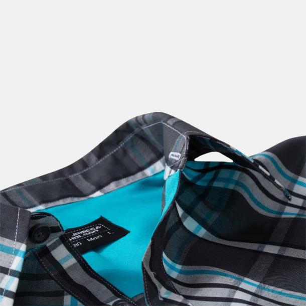 Rutiga dam- och herrskjortor med reklamtryck