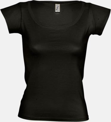 Deep black Dam t-shirts med vid boat neck - med reklamtryck
