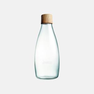 Större glasflaskor med reklamtryck