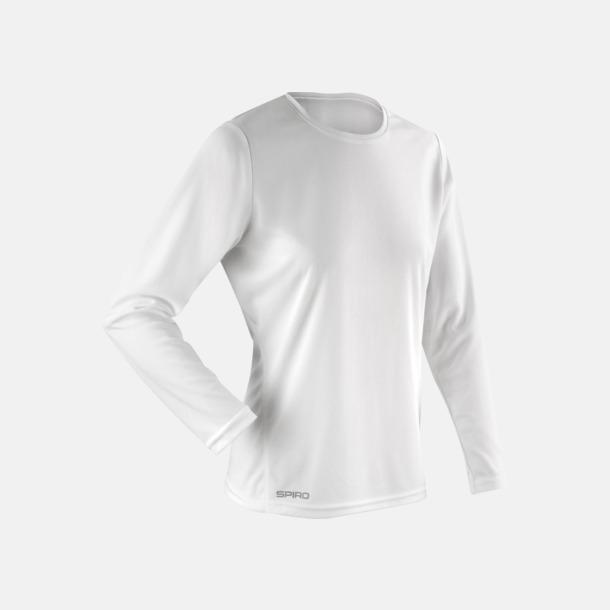 Vit (dam) Långärmade funktionströjor i herr- & dammodell med reklamtryck