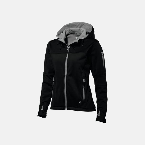 Svart/Grå  solid (dam) Soft-shell-jackor i herr- & dammodell med reklamtryck