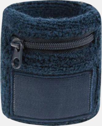 Marinblå Armsvettband med label och blixtlås - med tryck