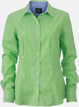 Grön-Vit/Blå (dam) Blusar & skjortor i randigt mönster med reklamtryck