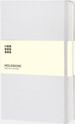 Vit (squared) Moleskines stora anteckningsböcker med linjerade eller rutade sidor - med reklamtryck