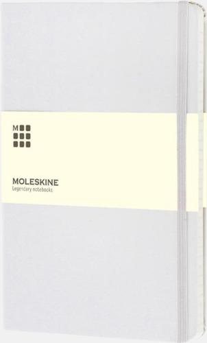 Vit (squared) Moleskines stora anteckningsböcker (ca A5) med linjerade eller rutade sidor - med reklamtryck