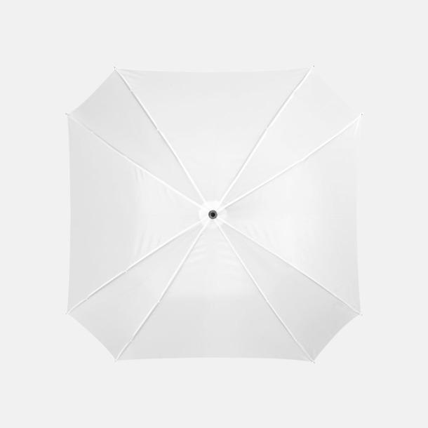 Vit Billiga paraplyer i fyrkantig form - med reklamtryck