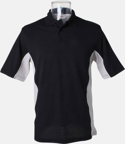Svart/Grå (solid)/Vit Sportiga pikétröjor med reklamtryck eller -brodyr