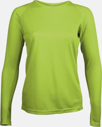 Lime Sport t-shirts med långa ärmar för kvinnor - med reklamtryck