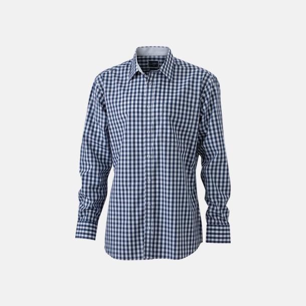 Marinblå/Vit (herr) Rutiga bomullsskjortor & -blusar med reklamtryck