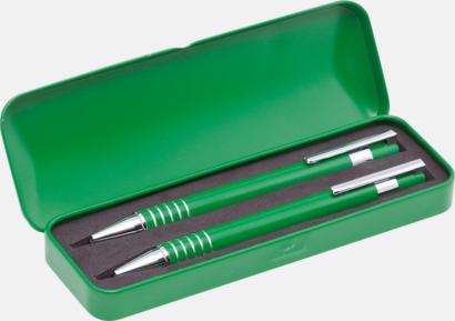 Grön Pennset med bläck- och blyertspenna i fodral