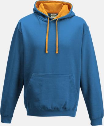 Sapphire Blue/Orange Crush Huvtröjor med insida av luva och dragsko i kontrasterande färg - med reklamtryck