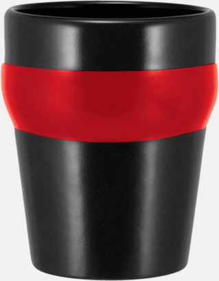 Svart / Röd Robusta take away-muggar med silikonsleeve