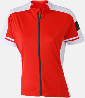 Röd (dam) Herr- och damcykeltröjor med hel dragkedja - med reklamtryck