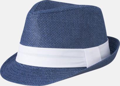 Marinblå/Vit Fina sommarhattar i många färger med reklambrodyr