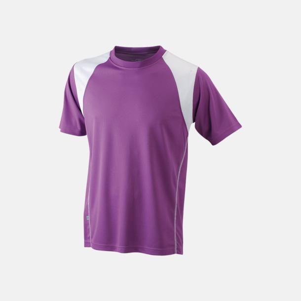 Purple/Vit Flerfärgade tränings t-shirts i herrmodell med reklamtryck