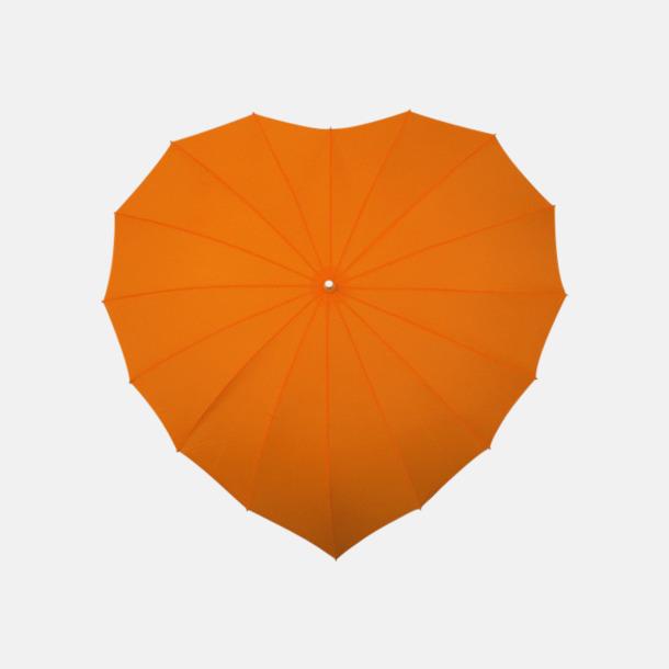 Orange (PMS 151C)  Hjärtformade paraplyer med eget tryck