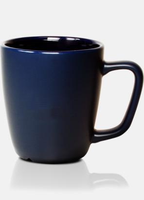 Blå Bastanta koppar av stengods med eget tryck