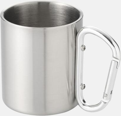Silver Termosmuggar i stål med karbinhakeöra med reklamtryck