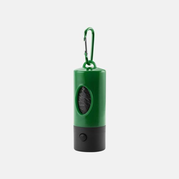 Grön Hundpåsar i behållare med karbinhake & ficklampa - med reklamtryck