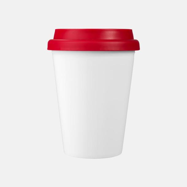 Röd / Vit Billiga take-away, dubbelväggiga plastmuggar med reklamtryck