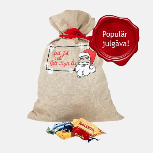 Utan eget tryck Julsäckar i 3 storlekar med godis