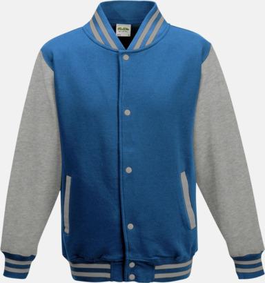 Sapphire Blue/Heather Grey Trendiga varsity-jackor för barn - med reklamtryck
