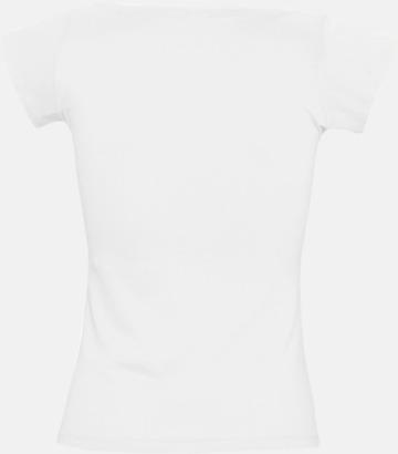 Dam t-shirts med vid boat neck - med reklamtryck