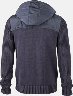 Marinblå/Light Grey Melange rygg (herr) Stickade herr- & damjackor med reklamtryck