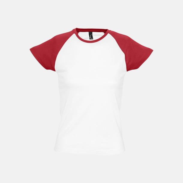 Vit/Röd (dam) T-shirts i herr- och dammodell med kontrasterande färg - med reklamtryck