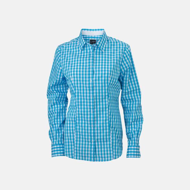 Turkos/Vit (dam) Rutiga bomullsskjortor & -blusar med reklamtryck