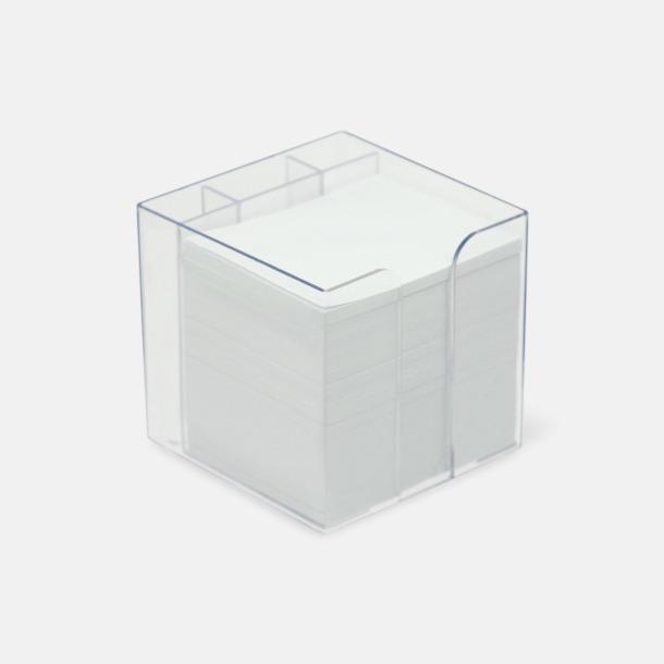 Transparent Plastbox med pennfack och papperskub i mitten