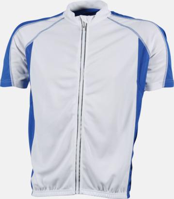 Vit/Royal (herr) Herr- och damcykeltröjor med hel dragkedja - med reklamtryck