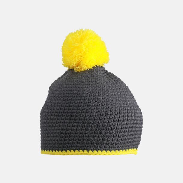 Carbon/Gul Toppluvor med rand och toft i annan färg - med bordyr