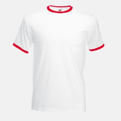 Vit/Röd T-shirt med kontrasterande färger - med reklamtryck